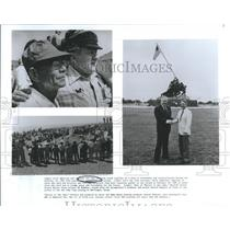 1954 Press Photo American and Japanese veterans, Iwo Jima, 40th Anniversary