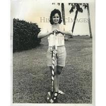 Press Photo Alice Moss junior college with shovel. - RSH81177
