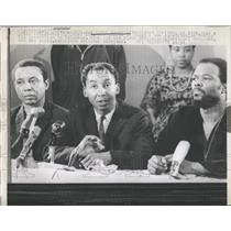 1968 Press Photo CORE Chairman Wilfred Ussery, Floyd McKissick, Roy Innis