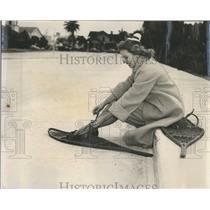 1956 Press Photo Joyce Weersing Showshoes Limerock Parking lot