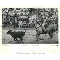 1980 Press Photo Calf Roping at Hernando County High School Rodeo - RSH82229