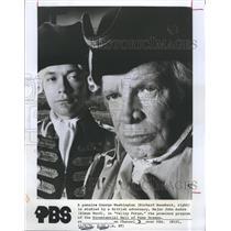 1976 Press Photo George Washington-Richard Bashart-Simon Ward In Valley Forge