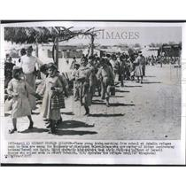 1957 Press Photo Arabs Marching School Jabalia Refugee - RRR82657