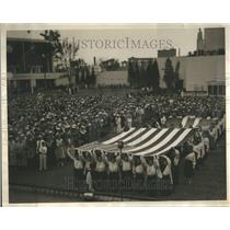 1934 Press Photo Two Flags Norways Day World Fair Peopl