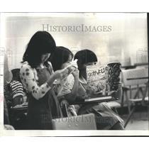 1977 Press Photo Customs Culture Japan Mouse Jug Pupils