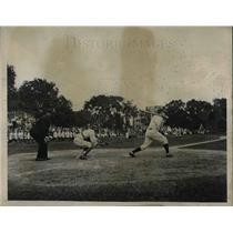 1935 Press Photo H.C. Schwaner, Navy, J.J. Davis, Army, Umpire Moran, Baseball