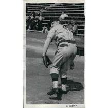 1938 Press Photo Baseball player Mare Brown in action