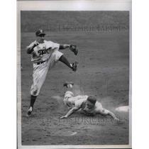 1951 Press Photo Brooklyn Dodgers Wayne Terwilliger & Chicago Cubs Eddie Miksis