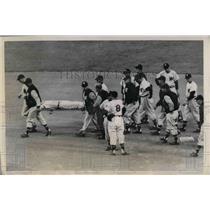 1949 Press Photo Eddie Yost, Washington 3rd Baseman Is Carried On A Stretcher