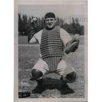 1937 Press Photo William Baker, catcher, at Spring Training Camp