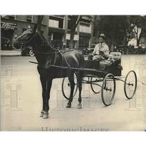 1923 Press Photo George D. Brown and Handsome Dick, Horse Drawn Carriage
