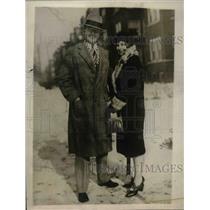"1929 Press Photo Charles L. ""Gabby"" Harnett of Cubs with Bride Martha Marshall"
