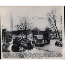 1948 Press Photo Kitty Hawk Arrives on Navy Truck in Washington