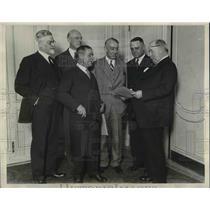1929 Press Photo Railroad execs. W B Storey, H. A. Scandrett, V. V. Boatner