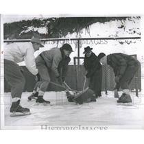 1952 Press Photo Broom Ball