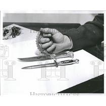 1958 Press Photo Michael Delaney Weapons Teen age gang - RRT94523