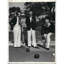 1936 Press Photo International Lawn Bowling, Dave Lindsay, L.C. Jack, S. Brown