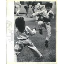 1984 Press Photo Glenview Karate Club Mitchell Show Kic - RRS40903