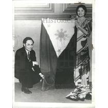 1935 Press Photo Ms. Placida De Cano Philippine flag - RRS30825