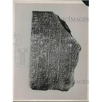 1937 Press Photo Clay Page from The Newly Found Ancient Babylonian Text Book