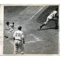 1944 Press Photo Phils Ray Hamrick slides home vs Dodger Mickey Owen