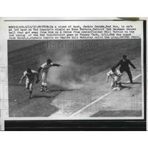 1957 Press Photo Red Sox Jackie Jensen safe at 3rd vs Tigers Bill Tuttle