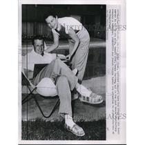 1953 Press Photo Ralph Kiner of Pirates with Wife, Tennis Star, Nancy Chaffee