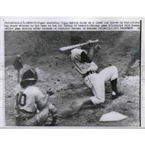1958 Press Photo Tiger Billy Martin ducks pitch from Ray Moore of white Sox