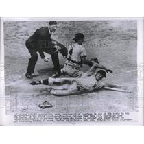 1955 Press Photo Senator Clint Courtney out at home vs Indians Jim Hegan