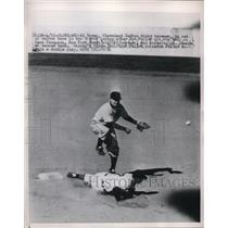 1950 Press Photo Al Rosen Indians Out At 2nd By Ed Stanky Giants MLB Baseball