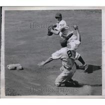 1944 Press Photo Dodger Howard Schultz out at 2nd vs Cubs D, Johnson - nes02037