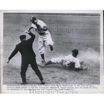 1950 Press Photo Umpire Bill Stewart Calls Cub's Wayne Terwilliger Out