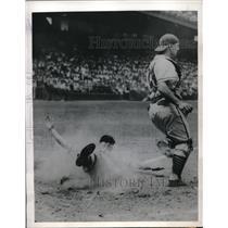1946 Press Photo Ervin Dusak Browns Scores Run Andy Seminick Cardinals MLB