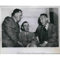 1951 Press Photo Baseball Club Meeting Louis Perini Braves Phil Wrigley Cubs MLB