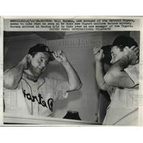 1958 Press Photo Detroit Tigers new manager Bill Norman in Boston - nes01726