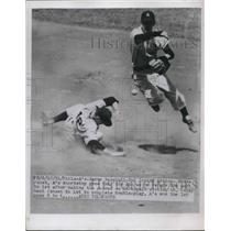 1951 Press Photo Eddie Joost of Philadelphia A's Relays Ball for Double Play