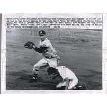 1958 Press Photo Milwaukee Braves Shortstop Johnny Logan & Cardinal 2nd Baseman