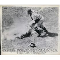 1949 Press Photo Tom Holmes Red Sox Scores Run 7th Inning Bob Sheffing Cubs MLB