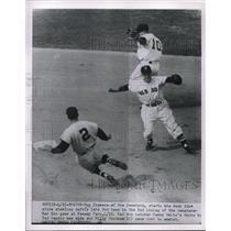 1954 Press Photo Roy Sievers of Senators Slides to Second, Ted. Lepcio of Boston