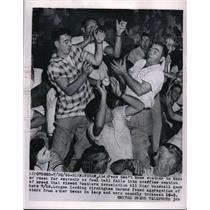 1955 Press Photo Frans Reach Foul Ball at Southern Association All Star Game