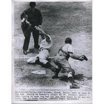 1952 Press Photo Clark Phils Catcher Atwell Cubs Sauer, Ump Jacko Conlon