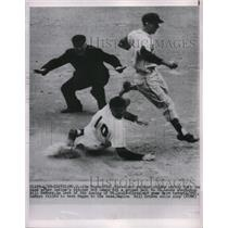 1950 Press Photo Jim Hegan of Indians Slides to Second, Bill DeMars of St. Louis