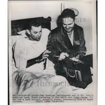 1949 Press Photo Nippy Jones & Bill Baker of Cardinals at St. John Hospital
