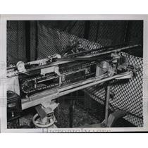 1941 Press Photo St. Louis Cardinals Mechanical Pitching Machine by Byron Moser