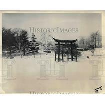 1934 Press Photo Blizzard Blankets Japanese Garden in Prospect Park, Brooklyn