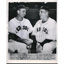 1950 Press Photo Manager Steve O'Neill Welcomes Coach George Suce Boston Red Sox