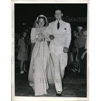 1941 Press Photo New York Yankees Tommy Henrich Marries Eileen O'Reilly
