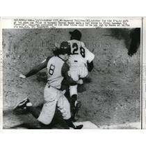 1963 Press Photo KC A's Haywood Sullivan safe at 1st vs Vic Power - nes02837
