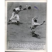 1948 Press Photo Bill Rigney of Giants Slides, Alvin Dark of Boston Braves