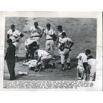 1956 Press Photo Cleveland Indian, Vic Wertz injured vs Yankee Bill Slowron